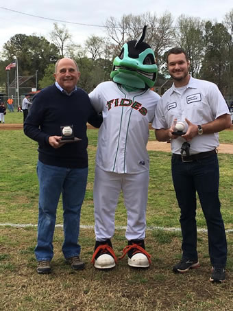 Hunter Bright, of Kellam Mechanical at the Churchland Baseball field pictured with Hunter is Norfolk Tides mascot, Riptide and Portsmouth Mayor, John Rowe.