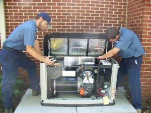 Kellam Mechanical technicians install a new whole home generator
