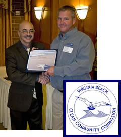 Dan Baxter of the Virginia Beach Clean Community Commission (VBCCC) presented Scott Kellam with a certificate of recognition for support and participation in keeping Va. Beach beautiful on November 2, 2011.