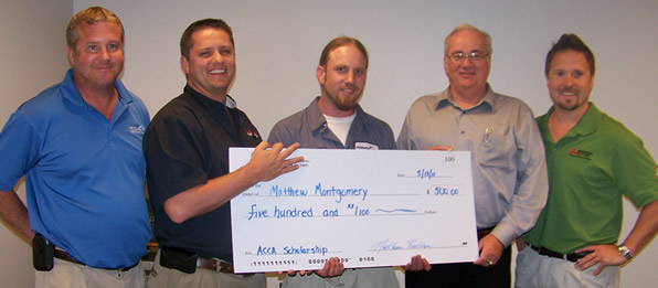 Service technician Matt Montgomery won the ACCA sholarship award in May 2011 recognizing him for his dedication to advancing his education in the HVAC field.